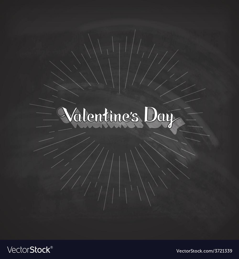 Valentines Day lettering emblem on the blackboard