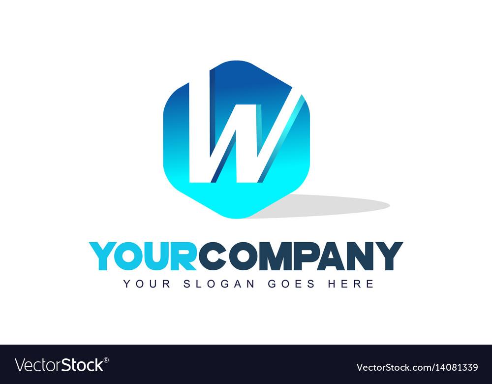 W letter logo hexagon shape modern design