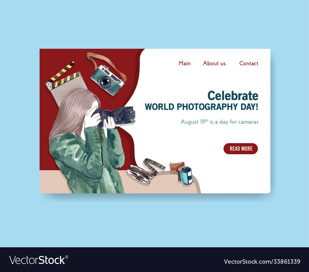 Website template design with world photography