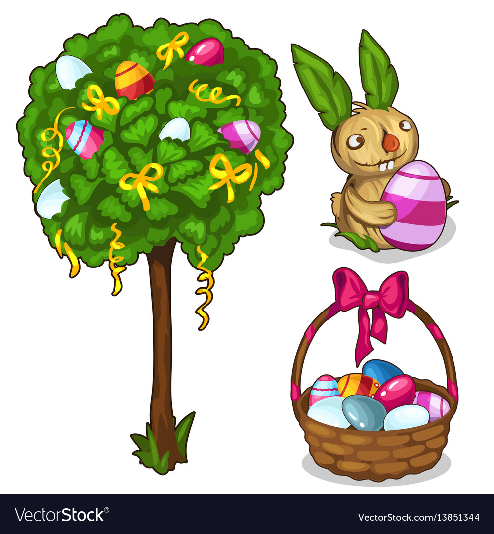 Basket with easter eggs bunny and festive tree