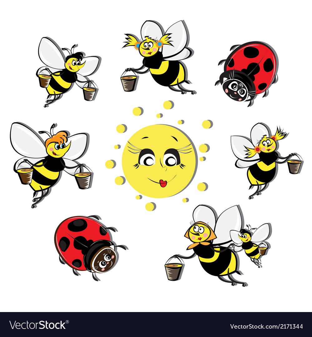 Bees ladybirds around the sun vector image