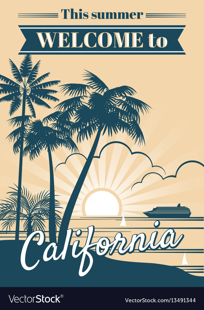 California republic poster with palm trees