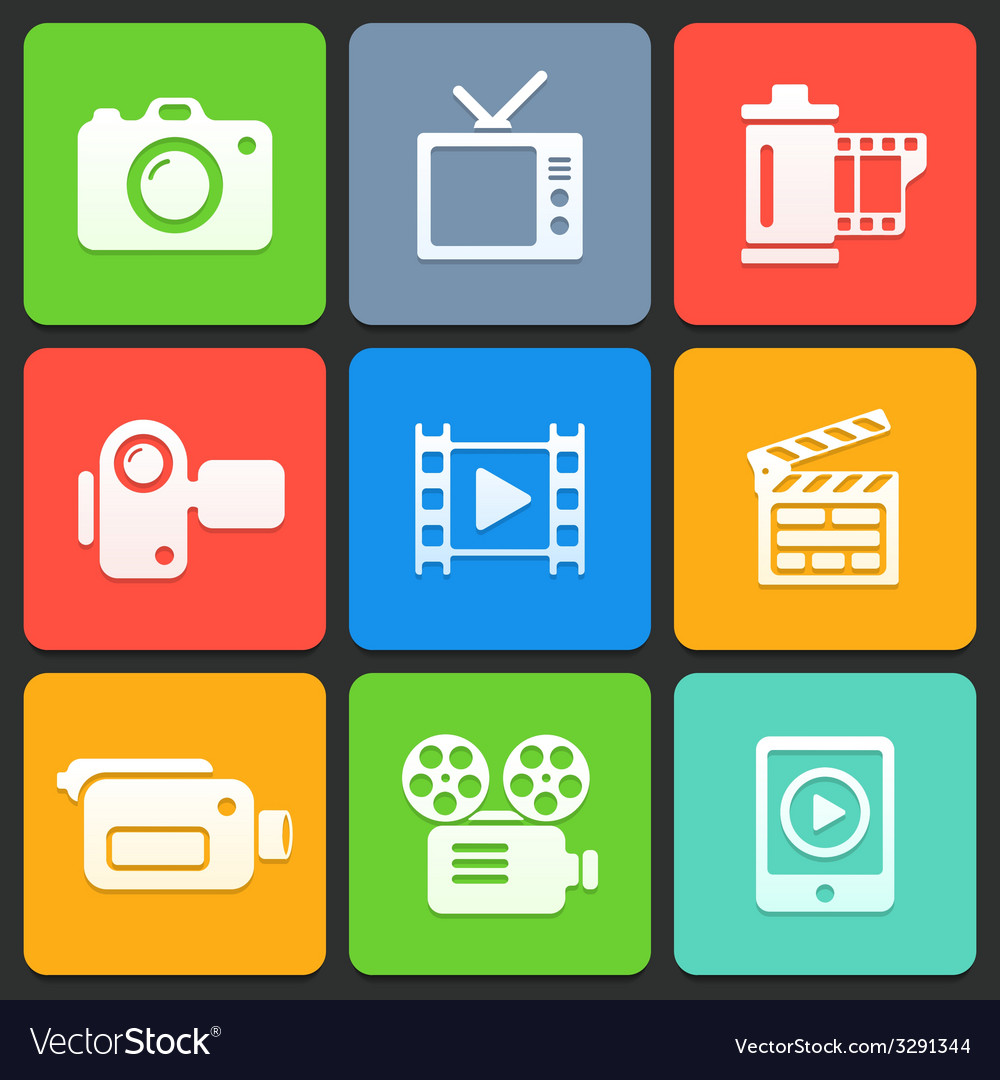 Colorful media icons for web and mobile vector image