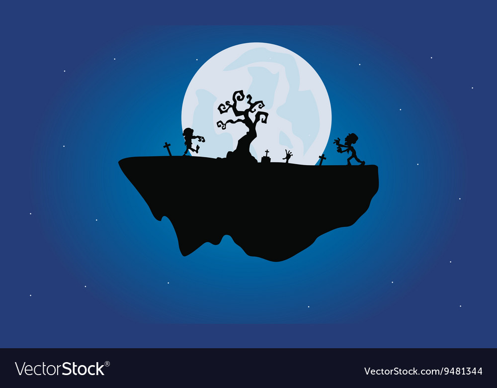 Halloween zombie and dry tree silhouette