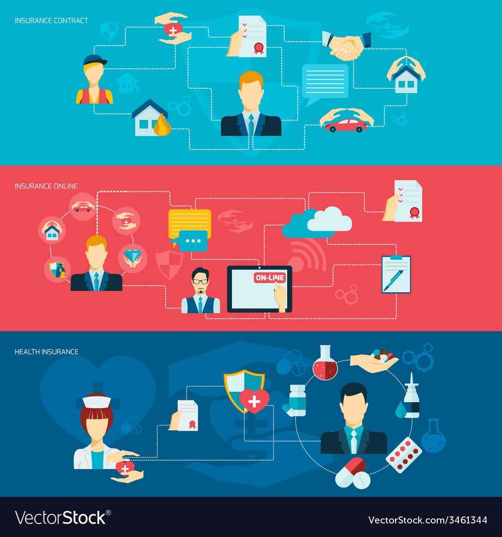 Insurance banner set vector image