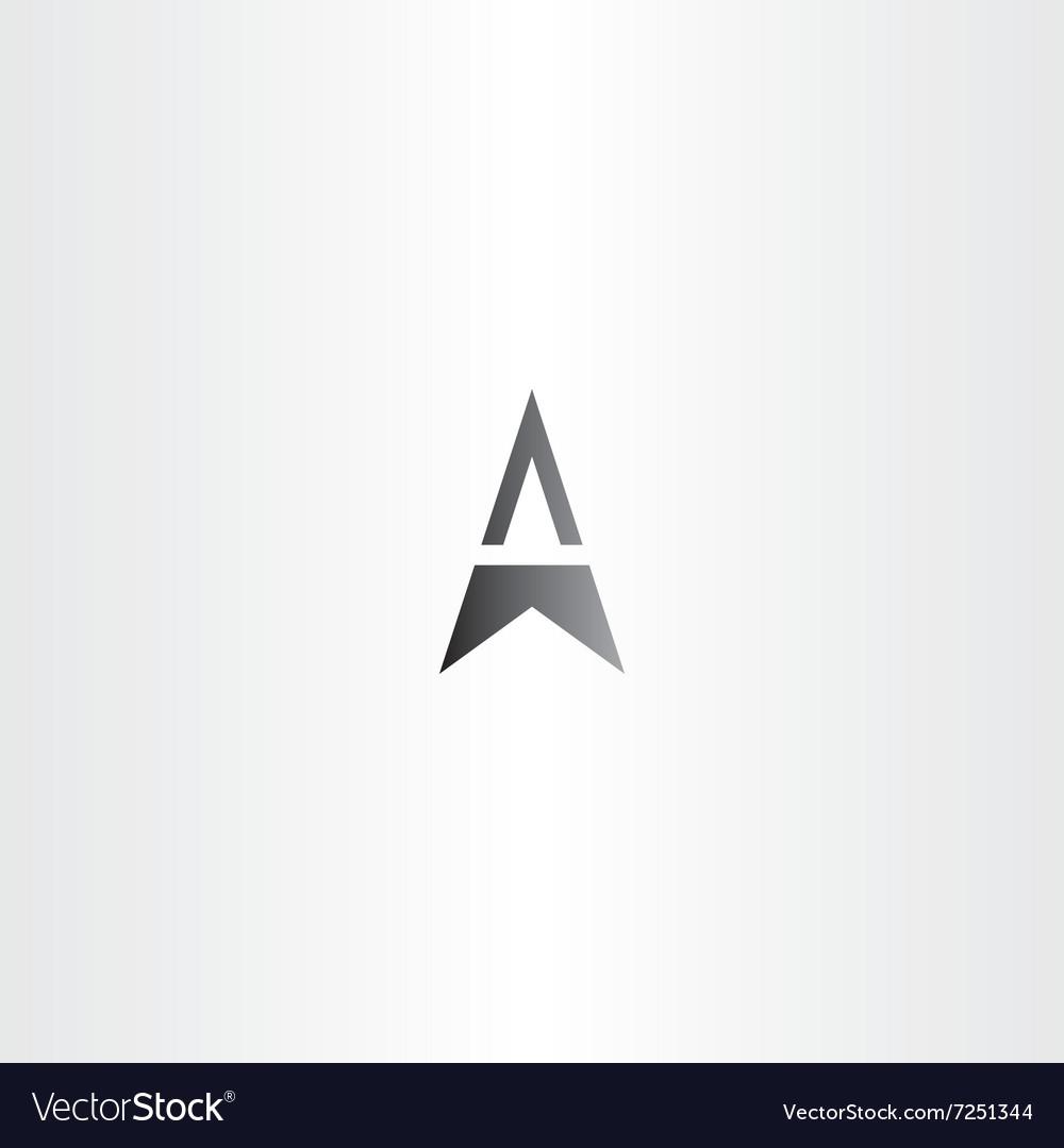 Letter a arrow black symbol