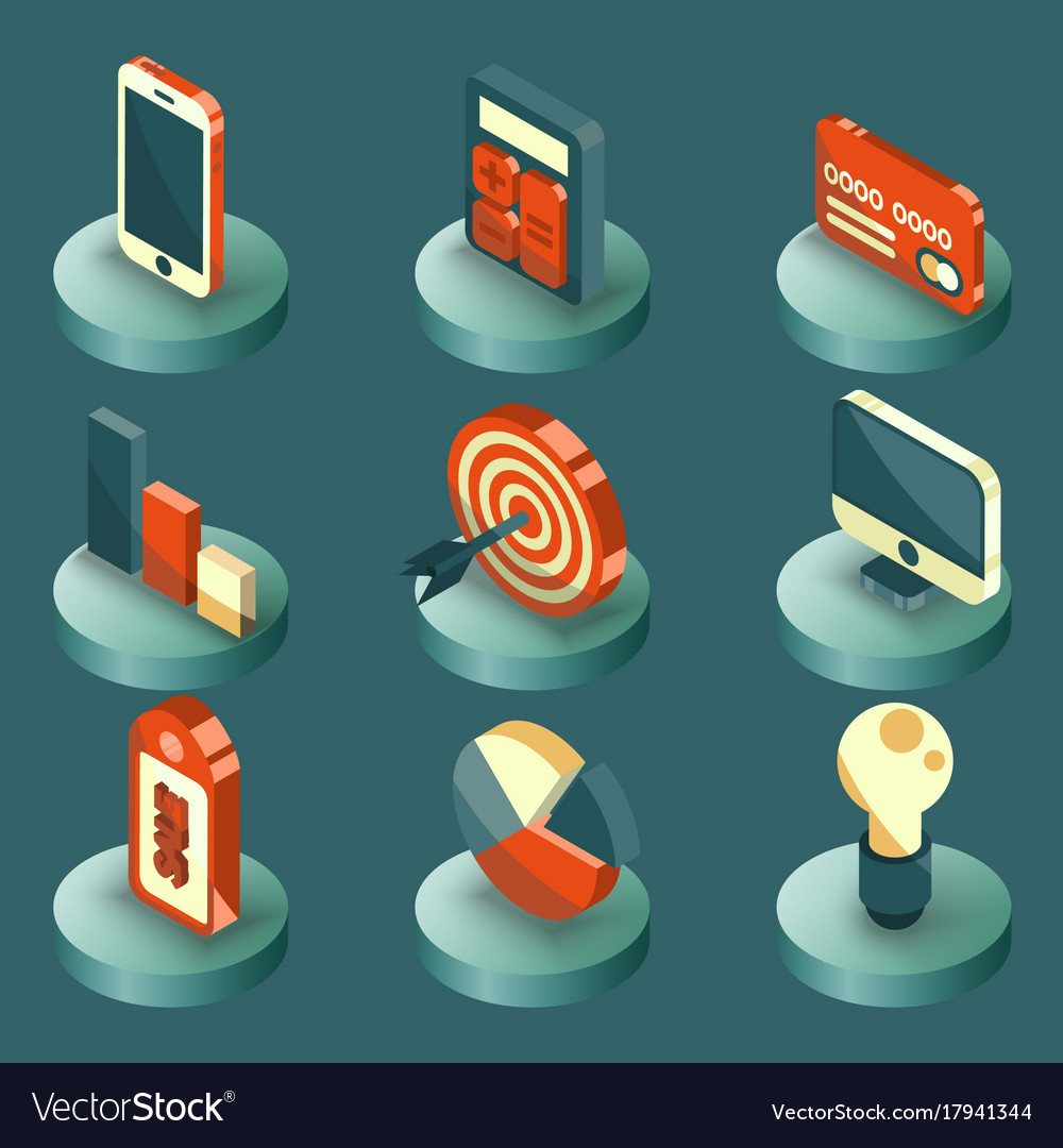 Marketing color isometric icons