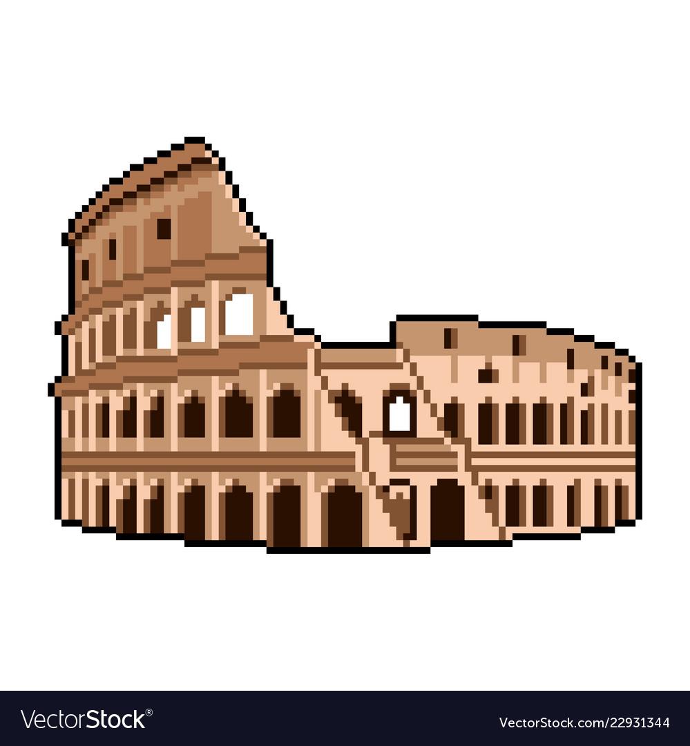 Pixel roman coliseum wonders world