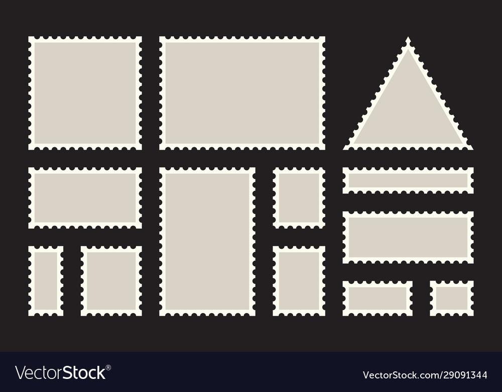 Postage stamps frames blank postage stamps set on