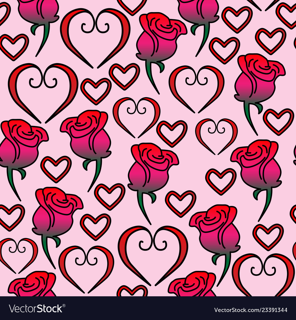 Seamless pattern of hearts and roses
