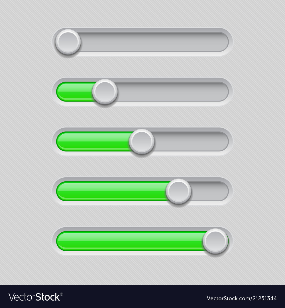 Slider bars gray green volume level console