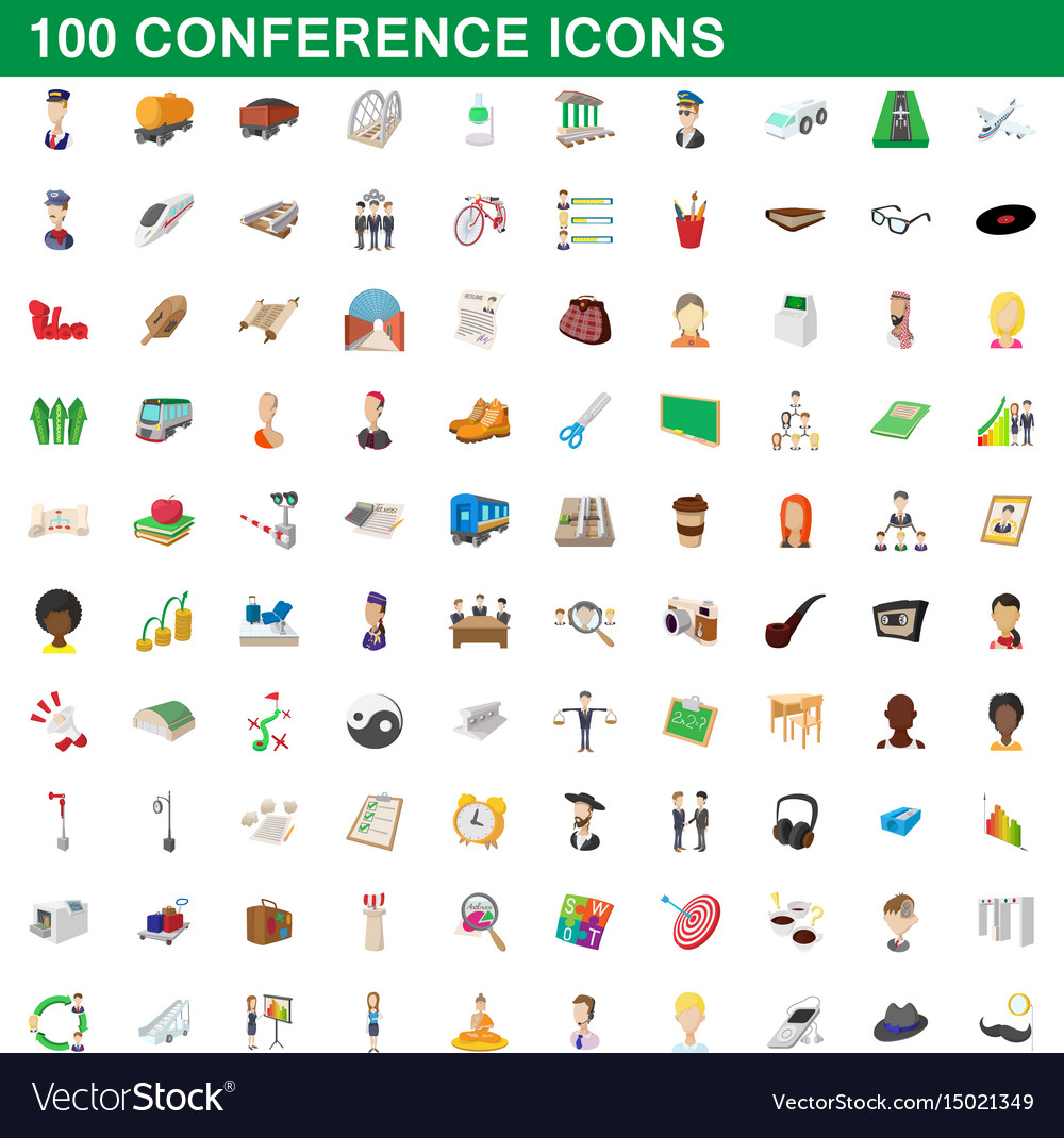 100 conference icons set cartoon style