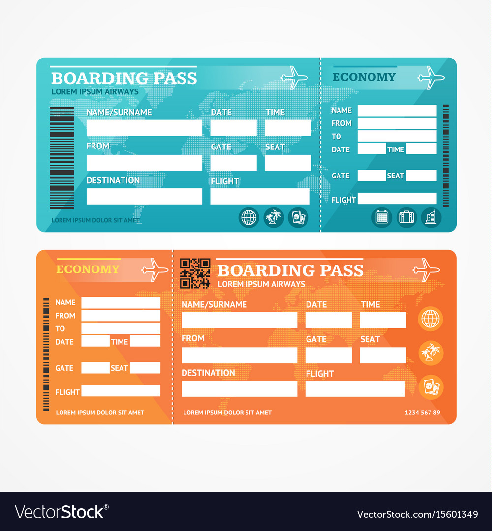 Boarding pass tickets airplane set