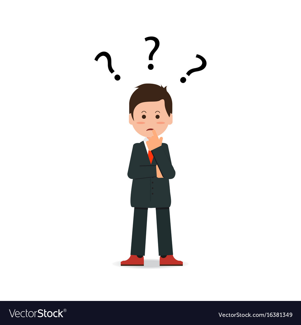 Businessman with question mark pondering problem