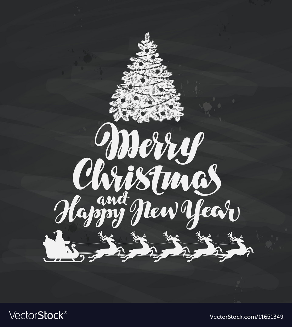 Christmas Holiday greetings written on black vector image