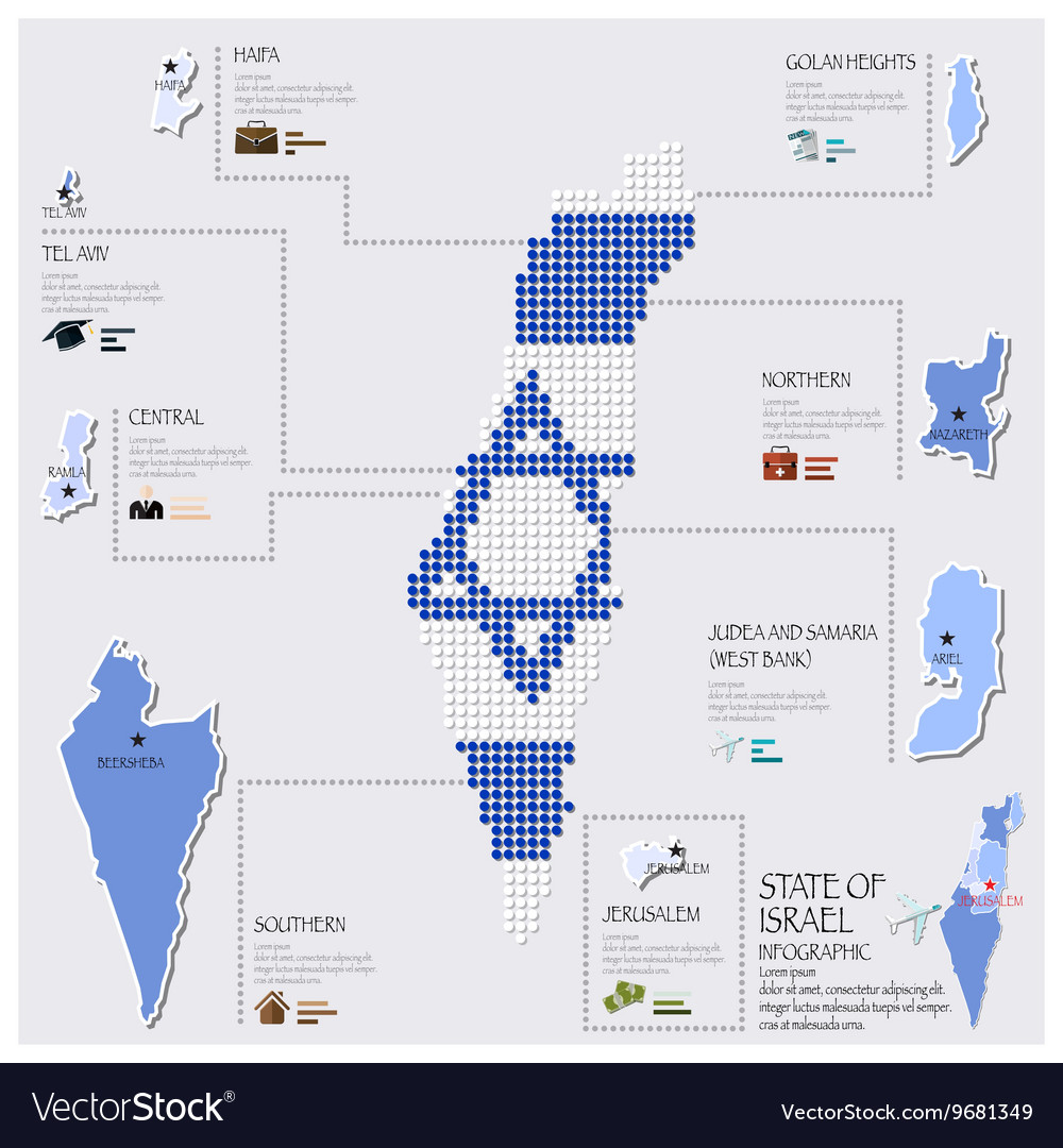Dot And Flag Map Of State of Israel Infographic