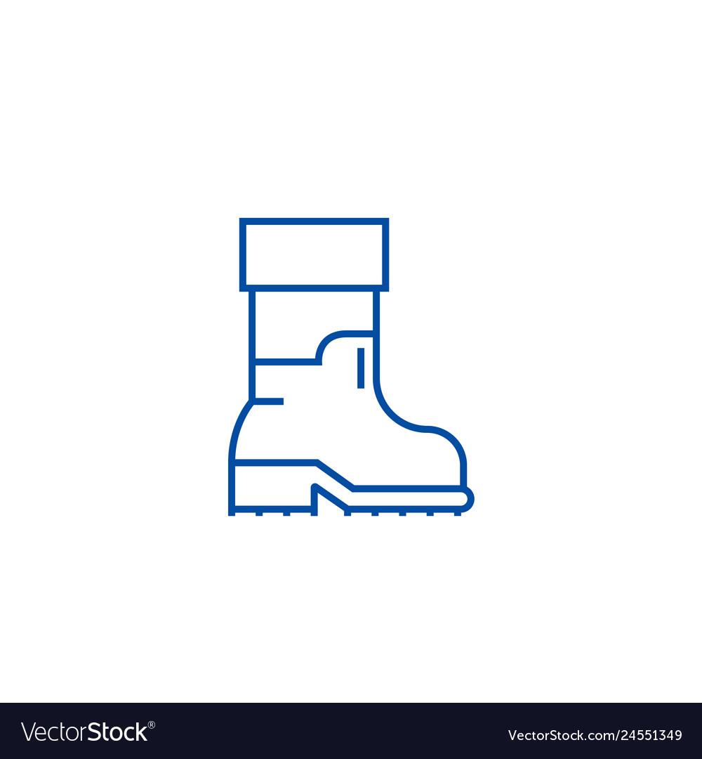 Farmer boots line icon concept farmer boots flat