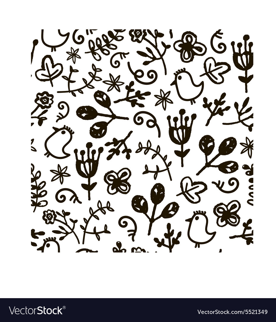 Hand drawn doodle floral seamless pattern