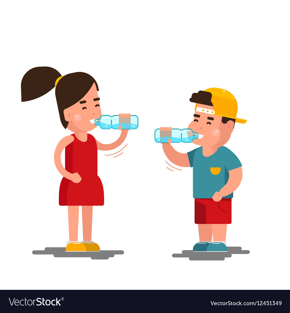 Little boy and girl drinks water Kids drinking