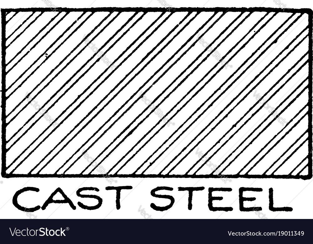 Mechanical drawing of cross hatching cast steel