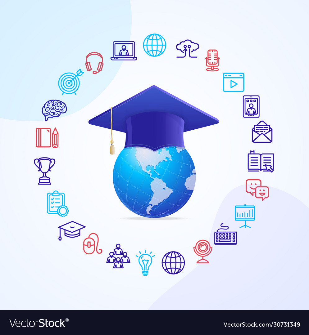 Online course education concept with realistic