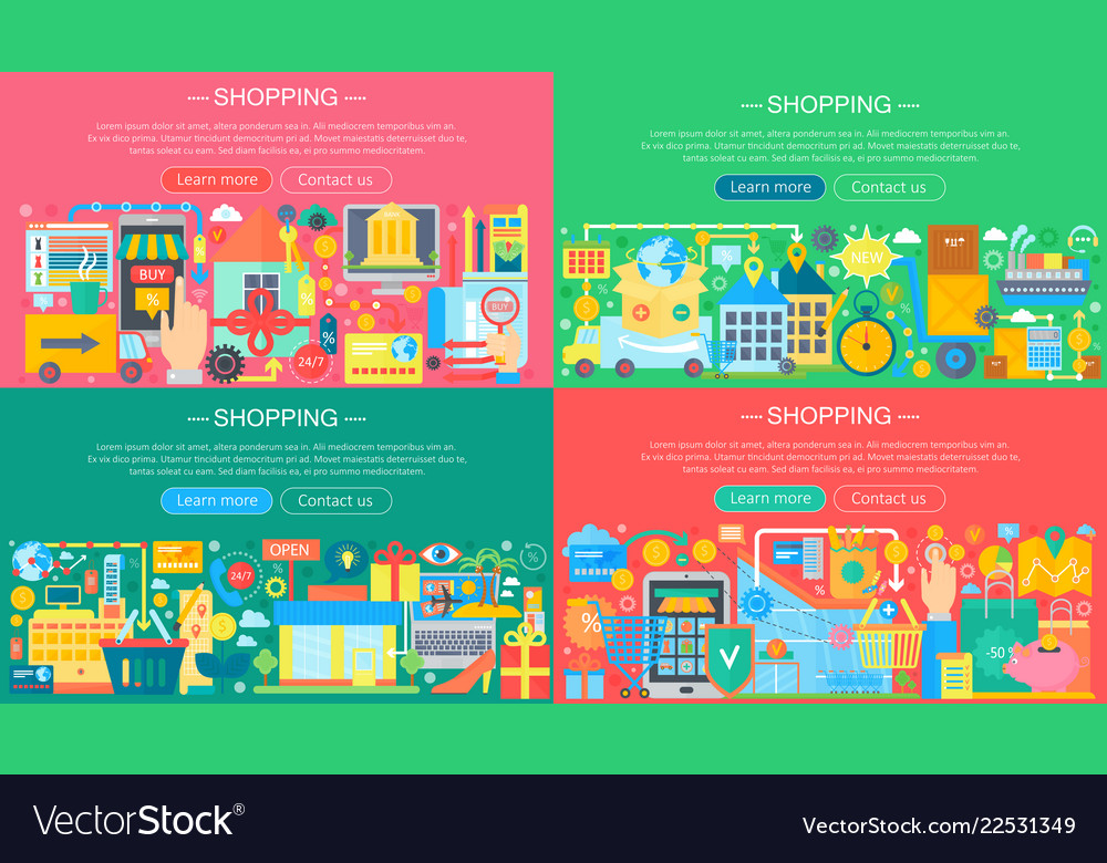 Online shopping and e-commerce concepts collection