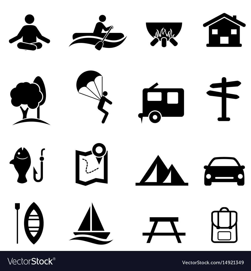 recreation activities and leisure icons royalty free vector