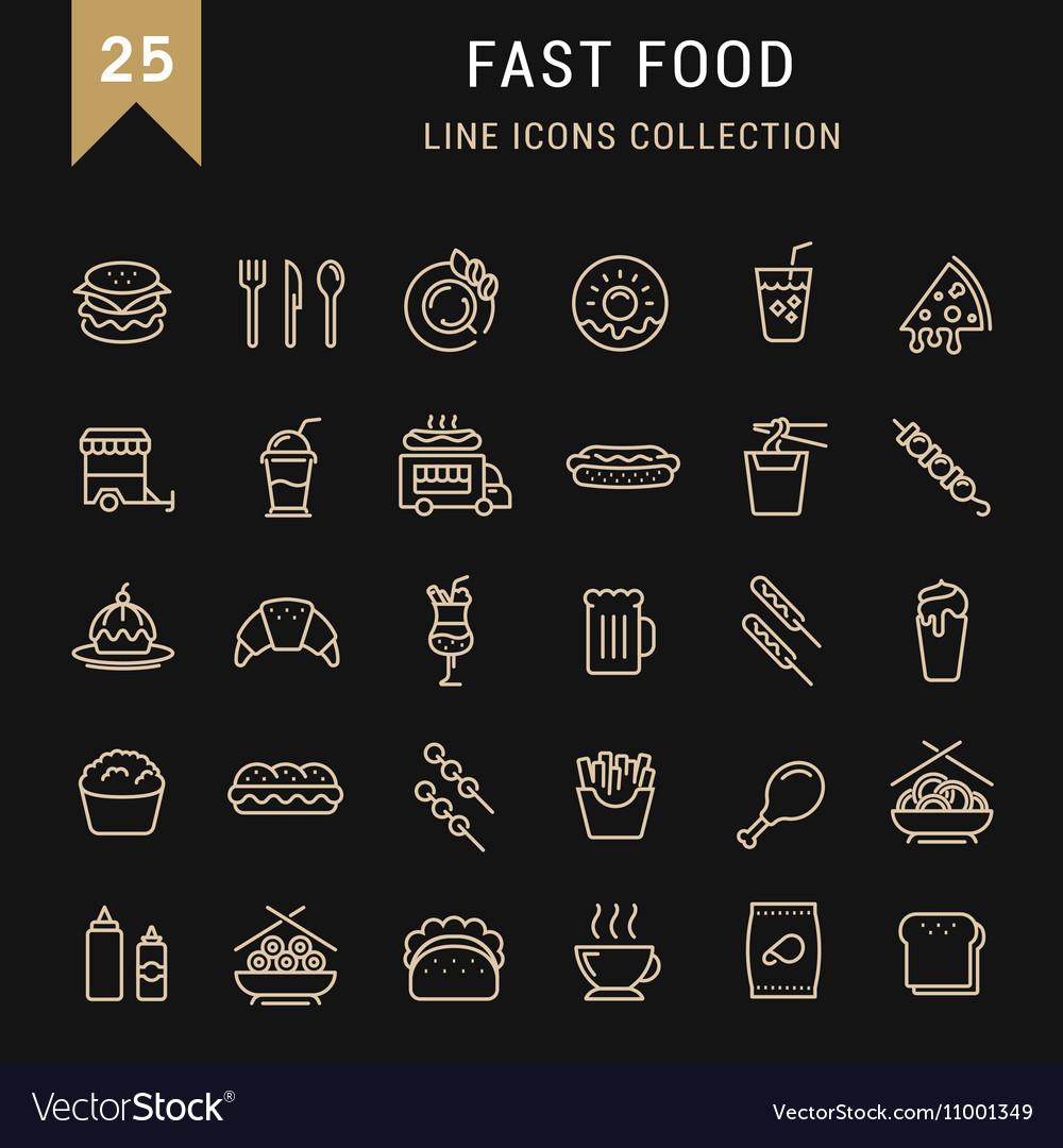 Set Flat Line Icons Fast Food