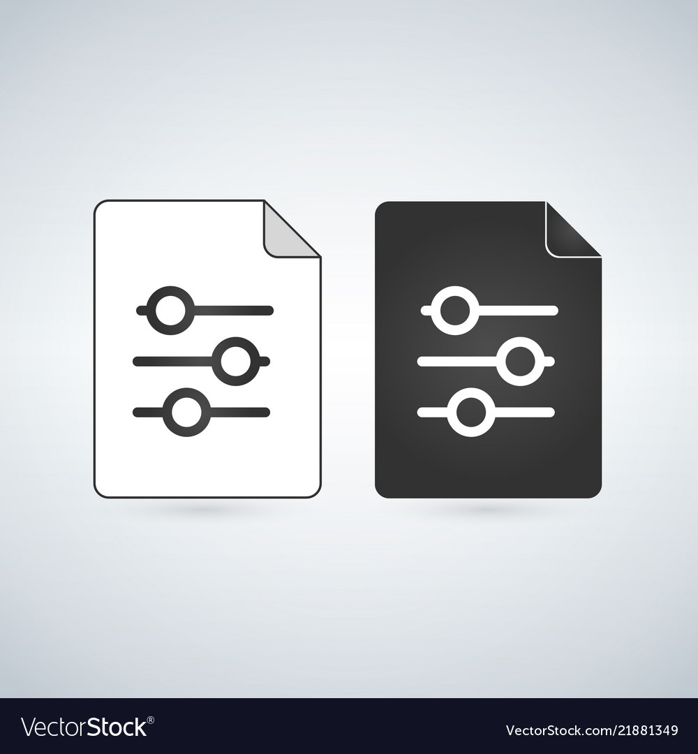 Settings document file icon with setting sliders