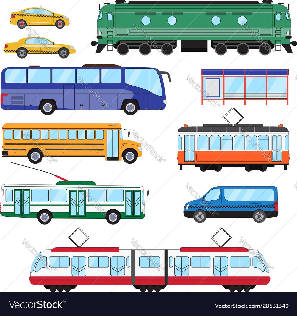 Urban public transport set collection bus