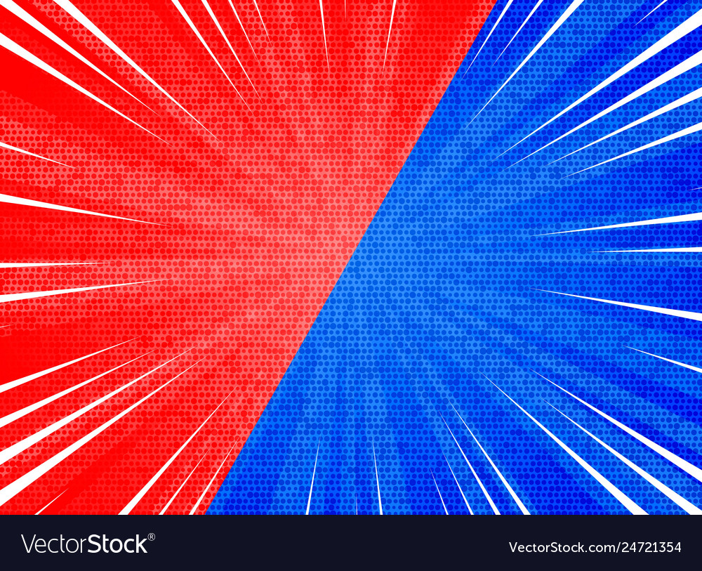 Abstract sun burst contrast red blue colors