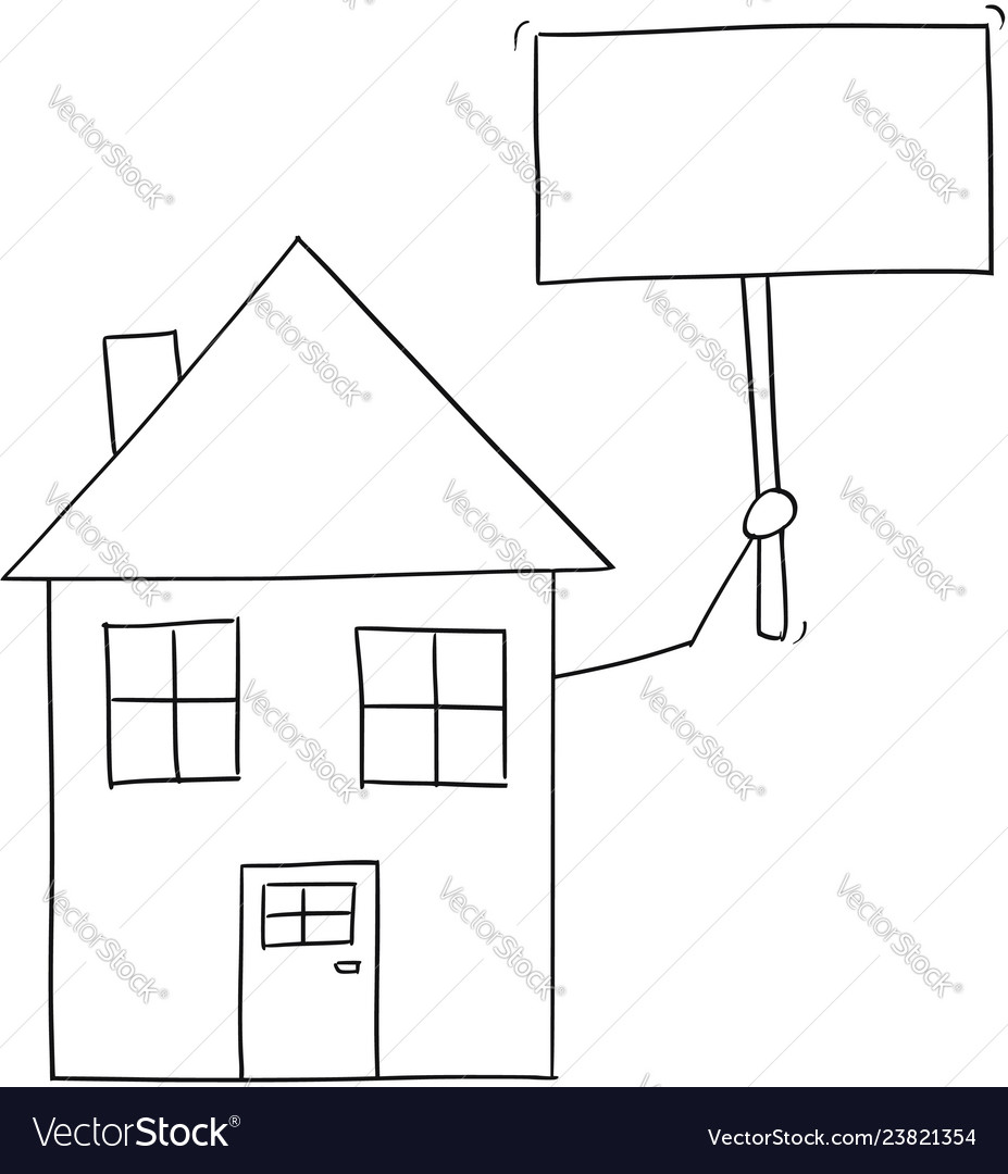 Cartoon drawing of family house holding empty sign