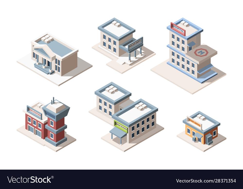 City buildings isometric 3d