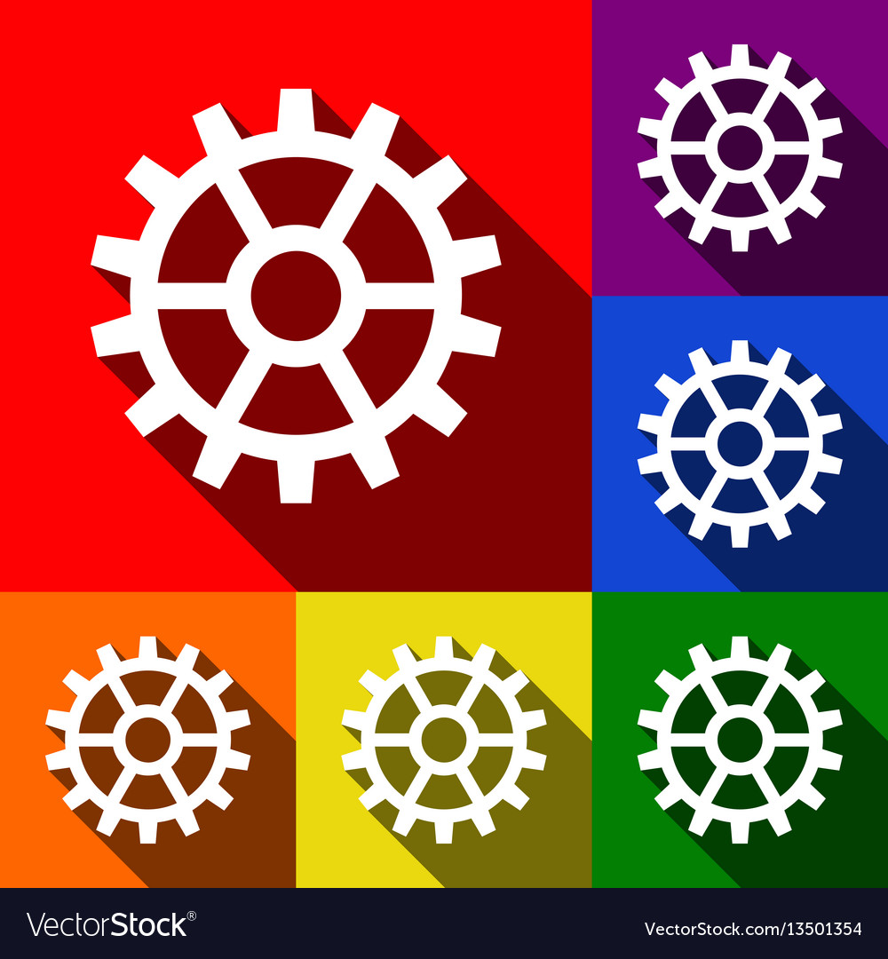 Gear sign set of icons with flat shadows