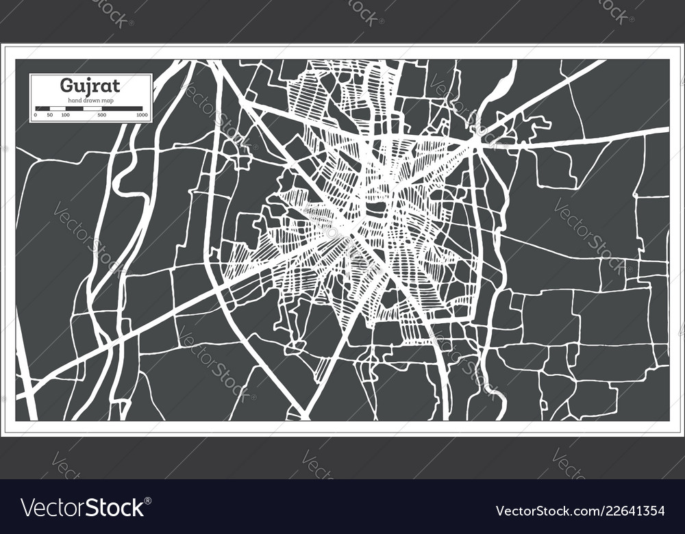 Gujrat pakistan city map in retro style outline