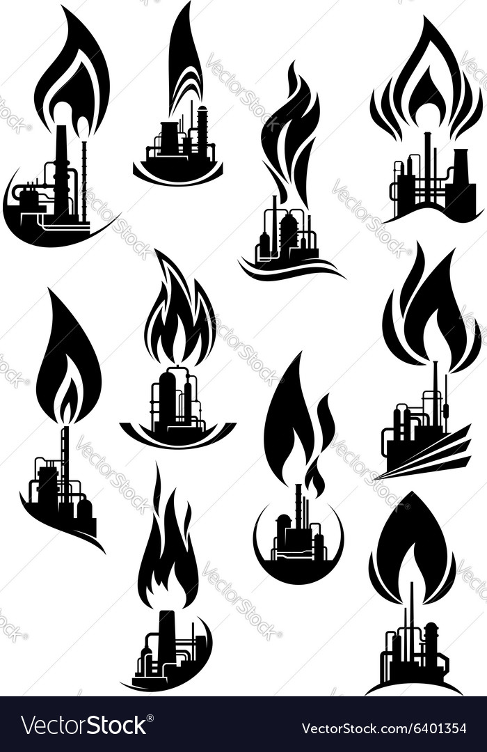 Oil and gas factories black icons vector image