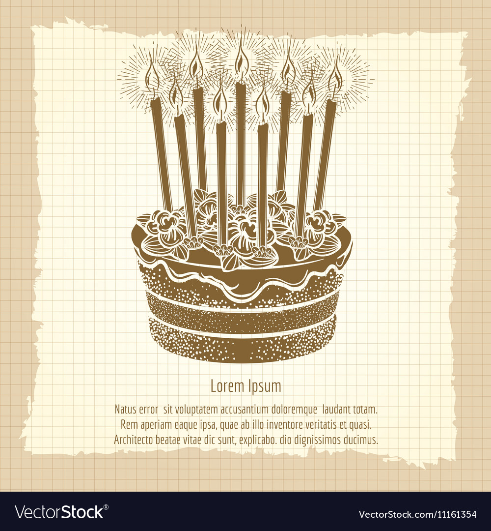Fantastic Vintage Poster With Birthday Cake Royalty Free Vector Image Birthday Cards Printable Opercafe Filternl