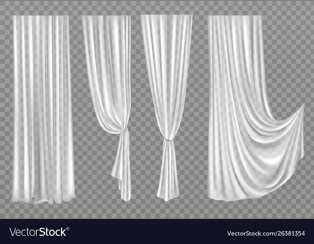 White curtains isolated on transparent background Vector Image