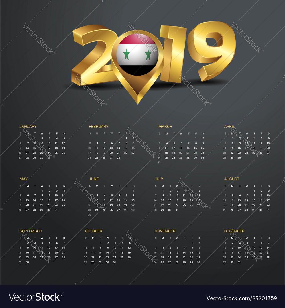 2019 Calendar Template Syria Country Map Golden Vector Image