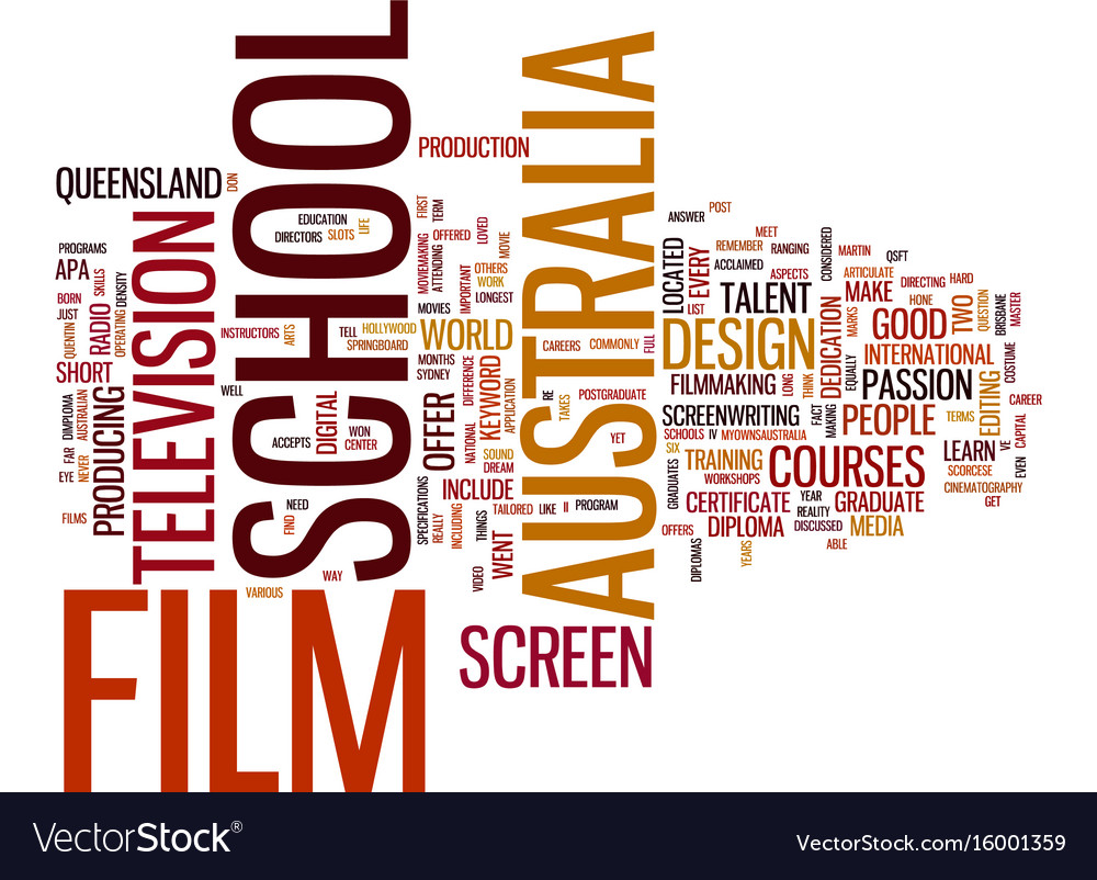 Australia film school text background word cloud vector image