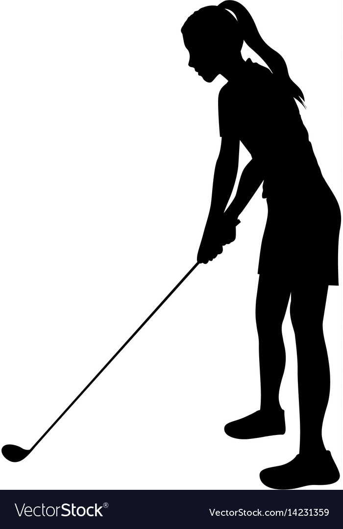 Black silhouette girl playing golf in position