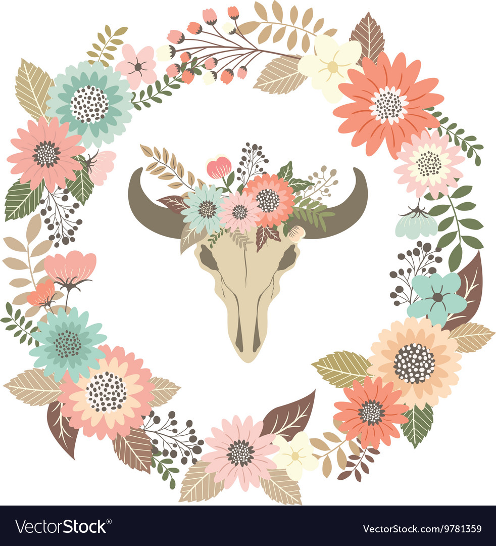 Bull Skull Floral with Wreath Laurel Invitation vector image