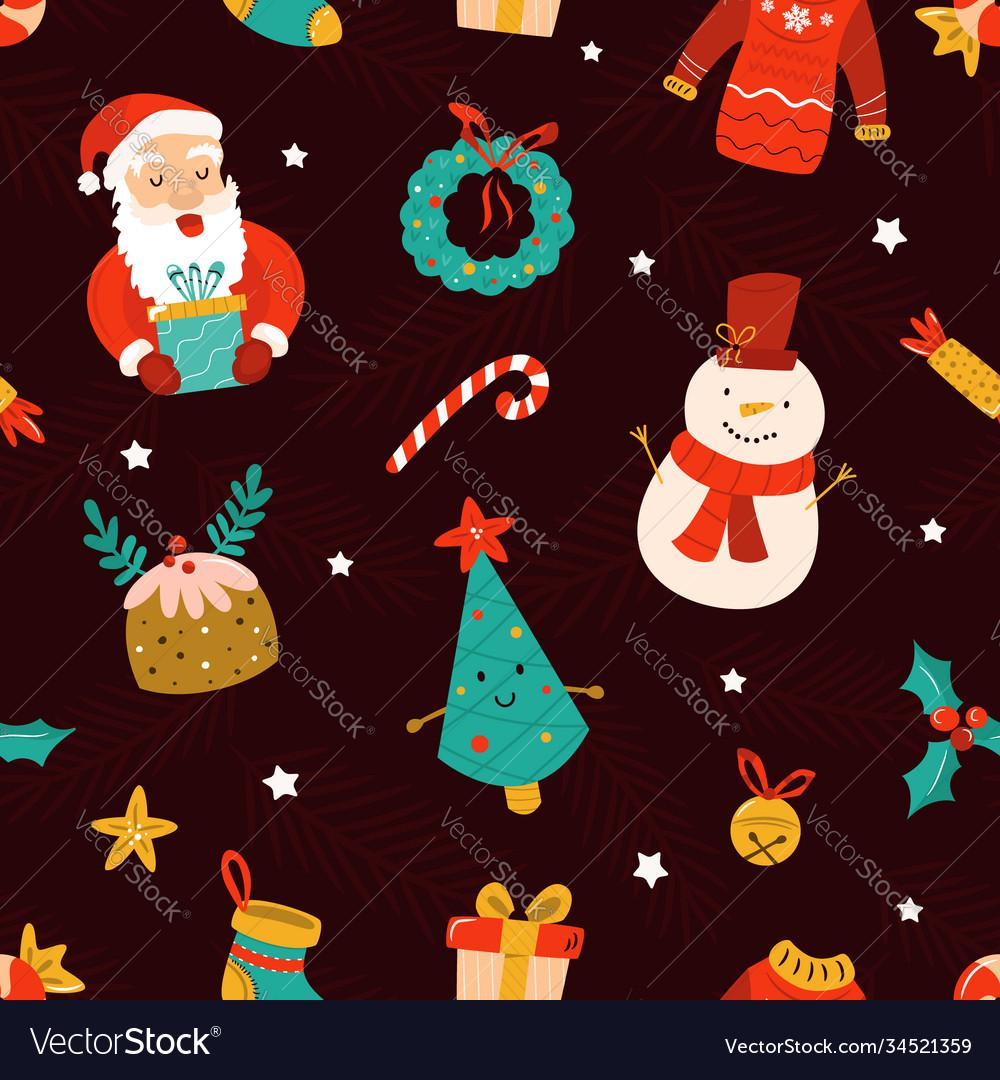 Christmas seamless pattern with festive symbols