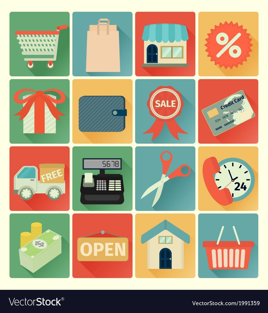 Flat icons shopping set
