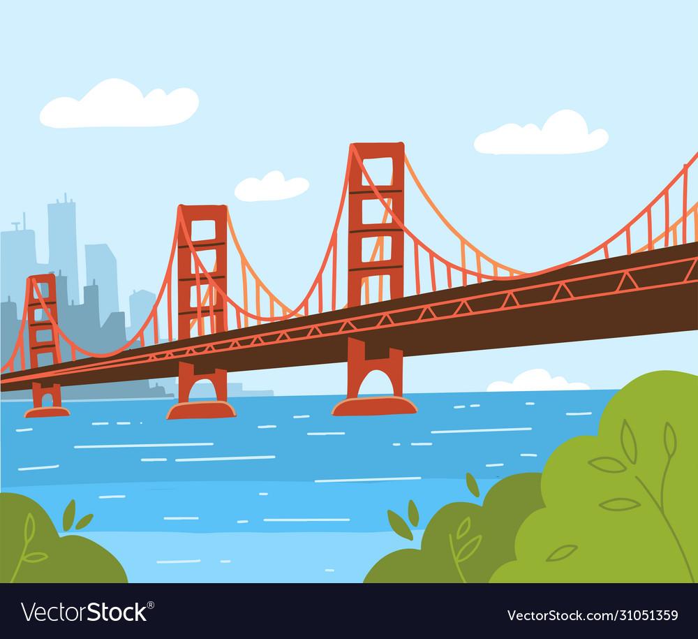 Golden gate bridge flat style design day