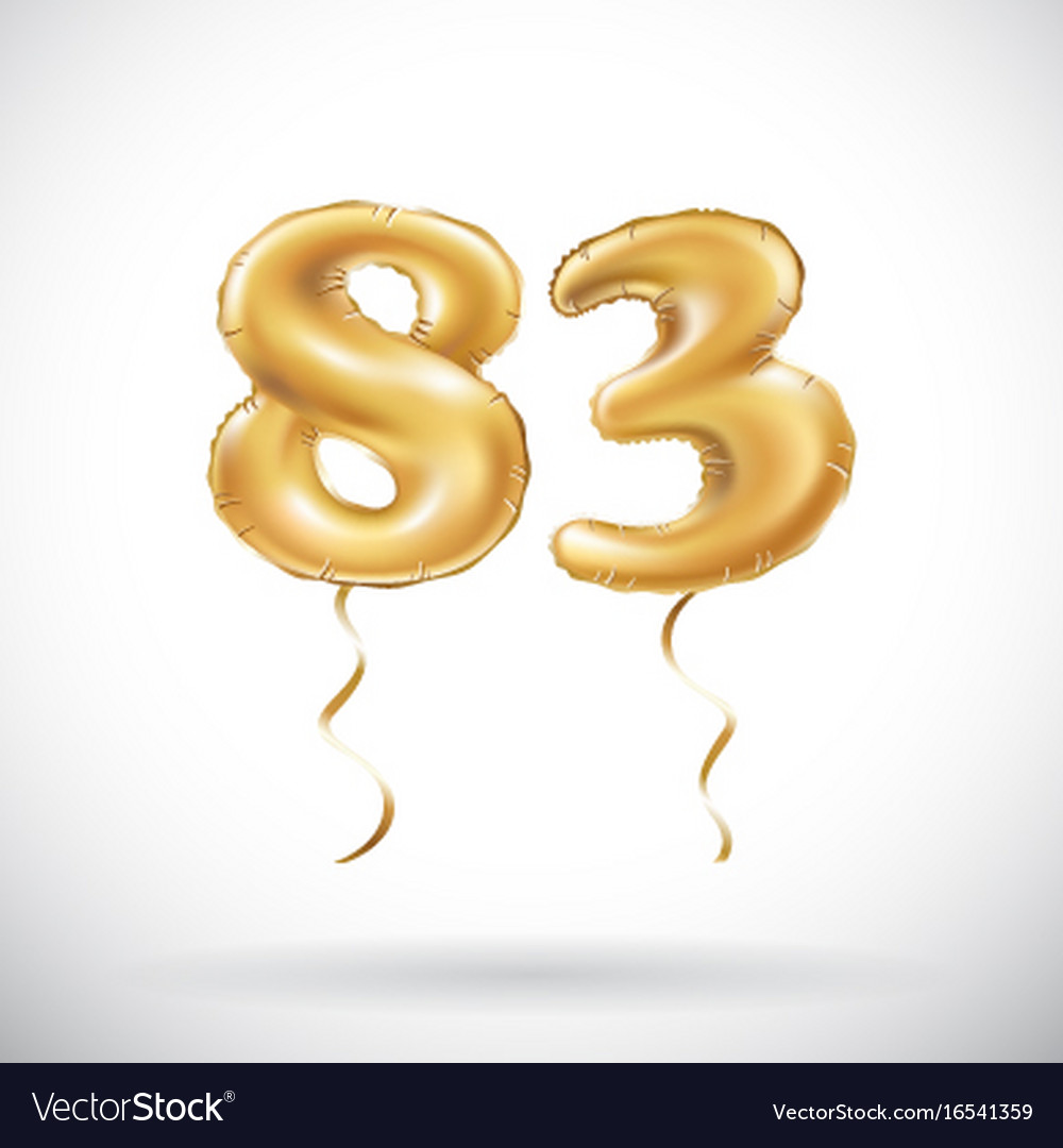 Golden number 83 eighty three metallic balloon vector image