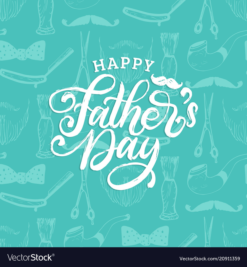 Happy fathers day hand lettering on seamless vector image