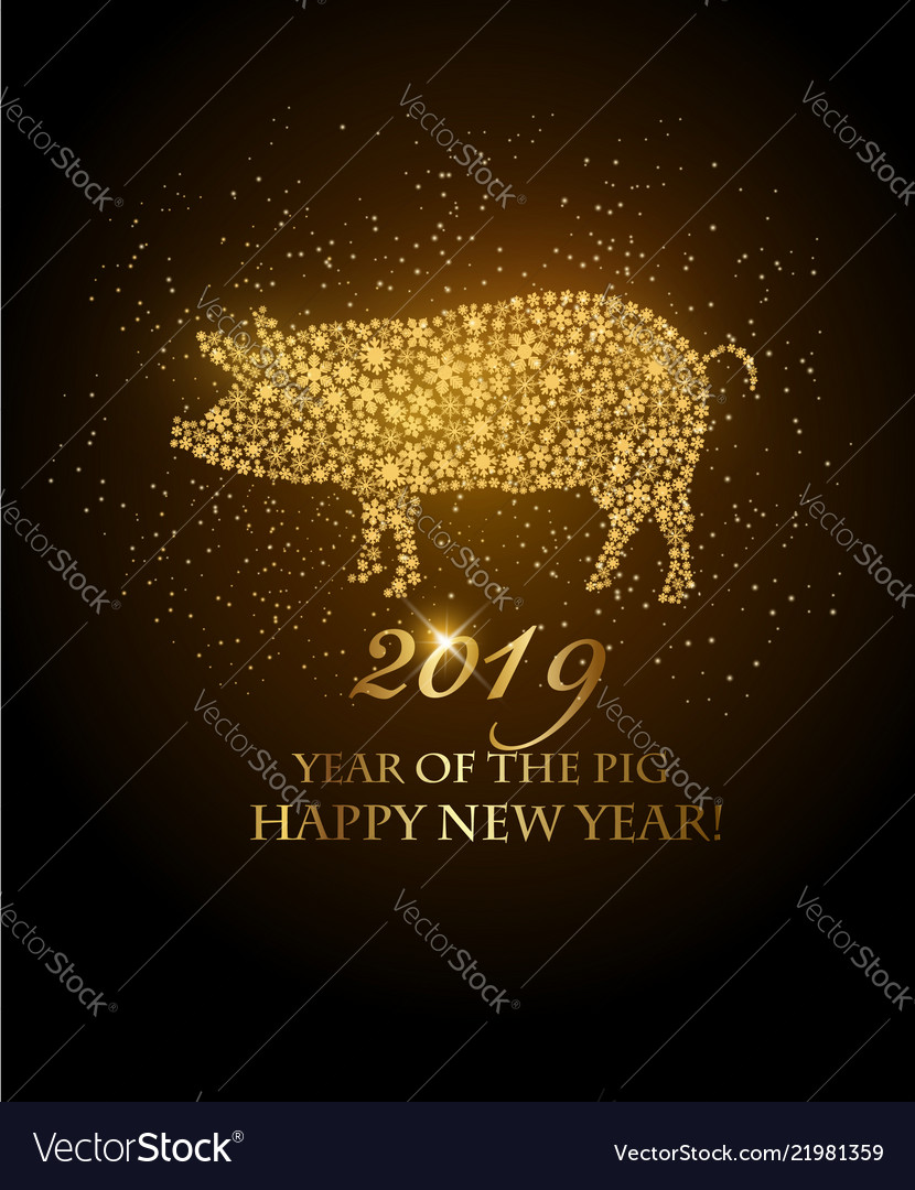 Happy new year 2019 background year pig