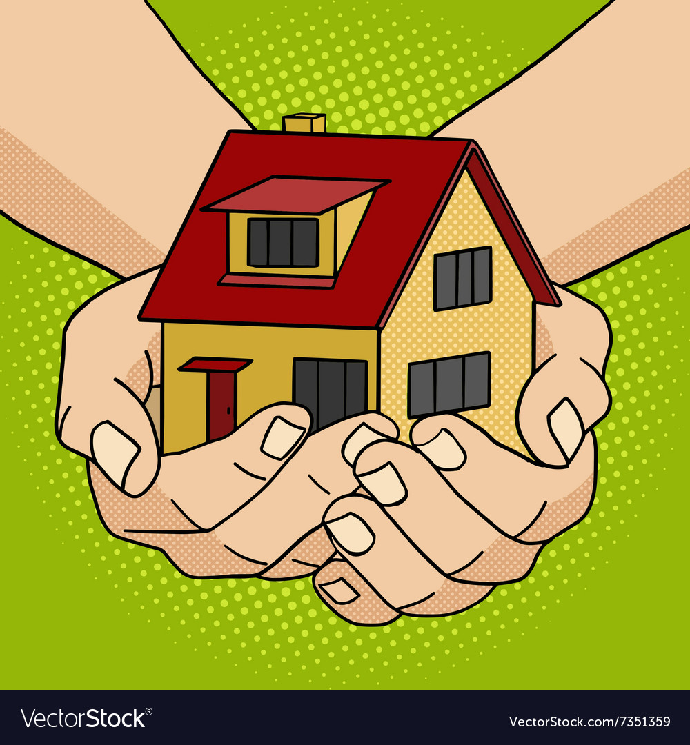 House in hands pop art style