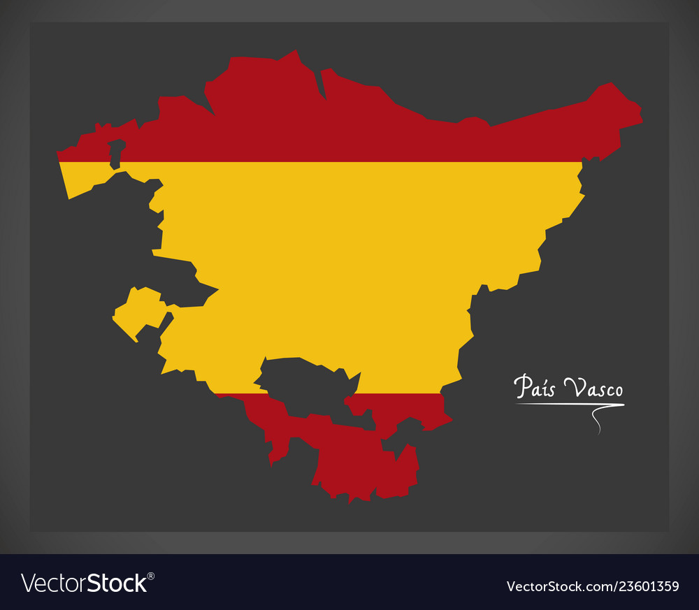 Pais Vasco Map With Spanish National Flag Vector Image